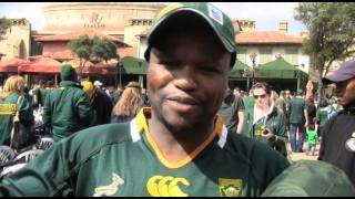 Springbok fans celebrated their win against Fiji at Absa Bok Town on Saturday 17 September, 2011.