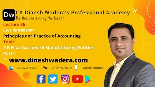 Lecture 36 - 7 B Final Accounts of Manufacturing Entities - Part 1 - CA Foundation - Accounts
