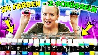 SLIME HERAUSFORDERUNG Kaan stellt Kathi knifflige Aufgabe! 2x Slime aus 24 Farben mischen! Challenge