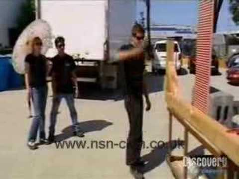 Mythbusters - Tori throws a hammer at Grant
