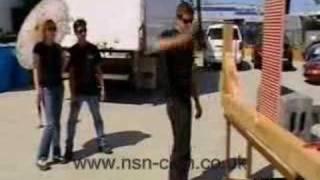 Mythbusters - Tori throws a hammer at Grant