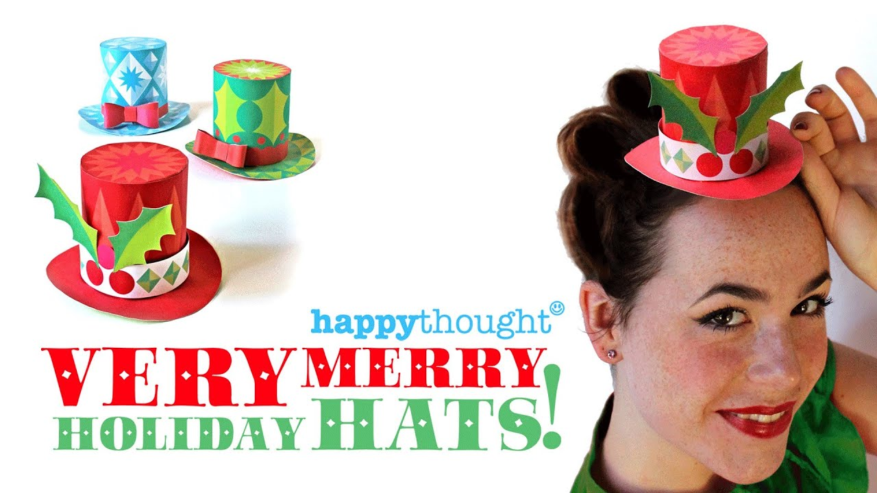 Very merry holiday hats 3 free festive mini paper top for Tiny top hats for crafts