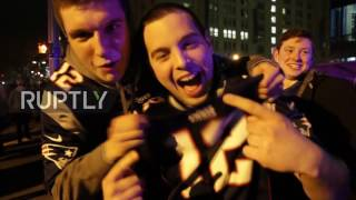 USA  Ecstatic Patriots fans celebrate Super Bowl win in Boston