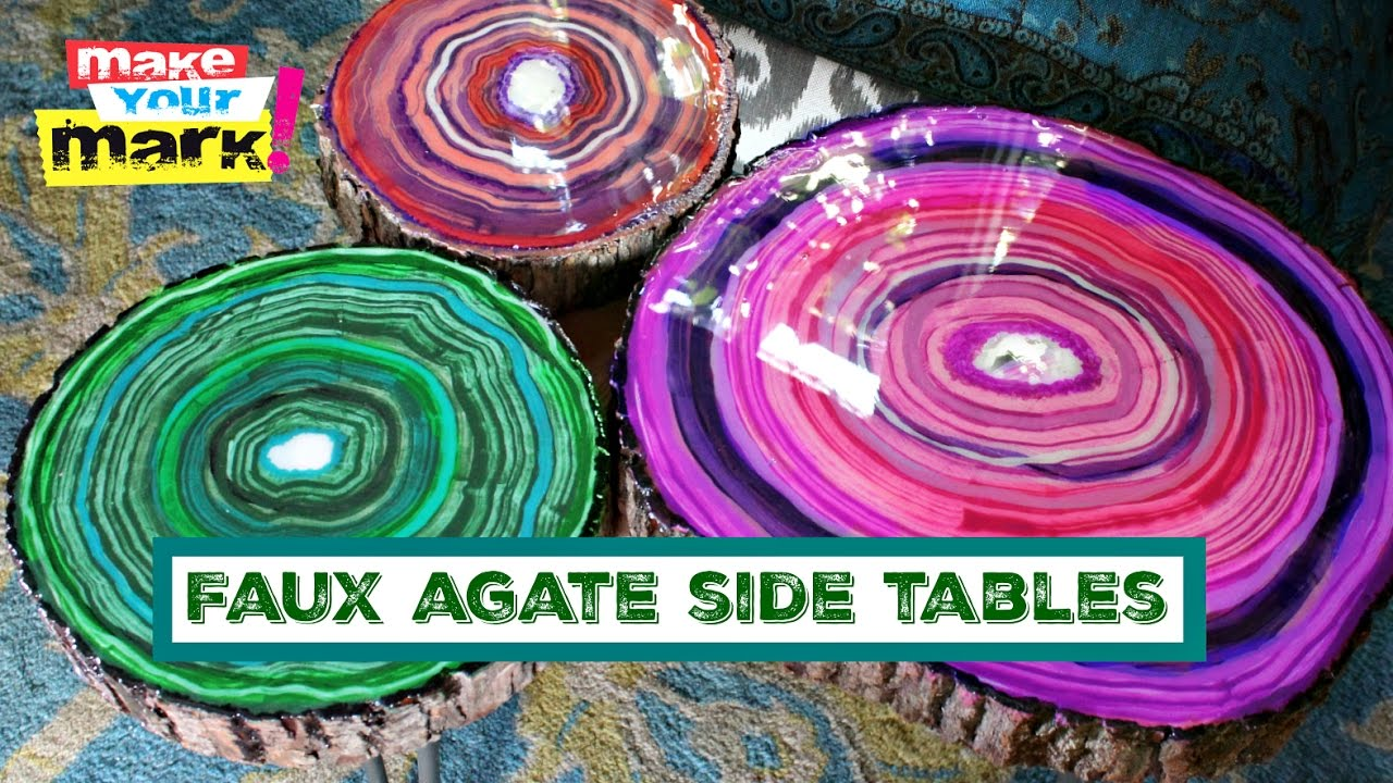 Faux Agate Side Tables   YouTube