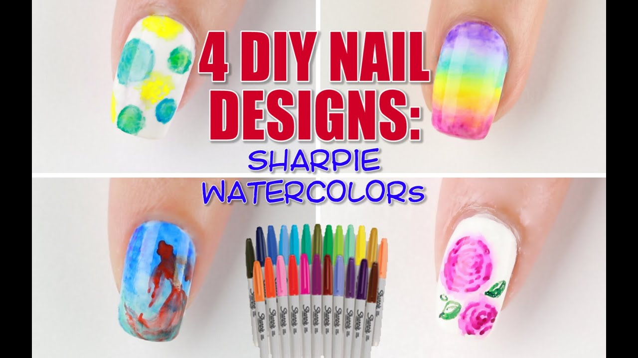- 4 Ways To DIY Sharpie Watercolor Nail Art! - YouTube