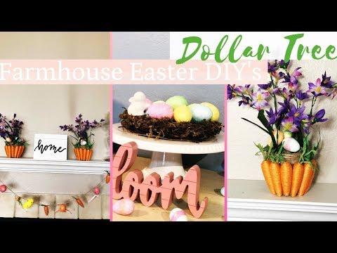 Farmhouse Easter DIY | 3 Dollar Tree DIY's| Easter Home Decor 2019 🐰🐣🥕