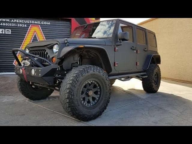 Custom Black Jeep Wrangler VInyl Wrapped in 3M 1080 Matrix Black