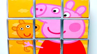 Свинка Пеппа и Мишка собираем кубики пазлы для детей с героями мультика свинка пеппа