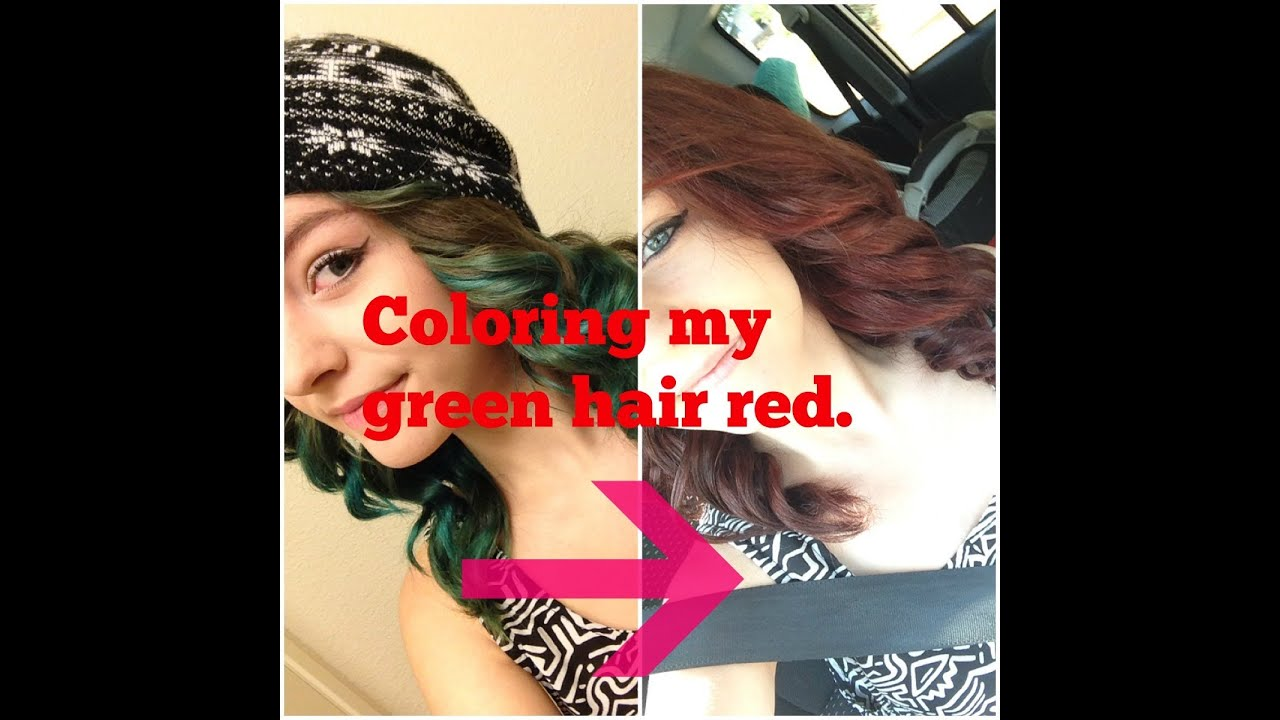Coloring My Green Hair Red No Bleaching Youtube