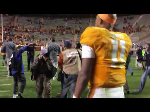 Tennessee QB Joshua Dobbs exits Neyland Stadium after Senior Day win