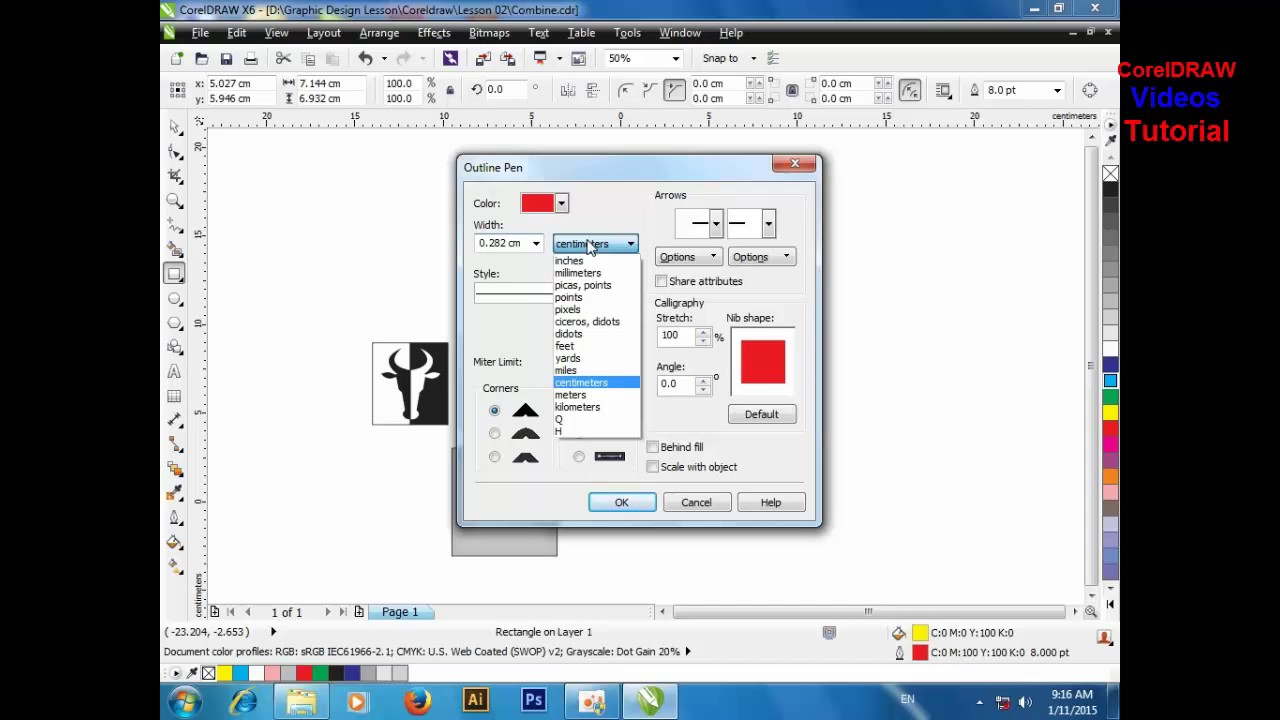 Lesson#5 How to use outline pen tool videos | CorelDraw x6 tutorial part 1