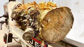 Woodturning:  Yellow Birch Log to Vessel