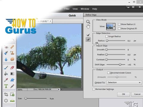 How to use the Adobe Photoshop Elements Refine Edge Tool - 11 12 13 14 15 Tutorial