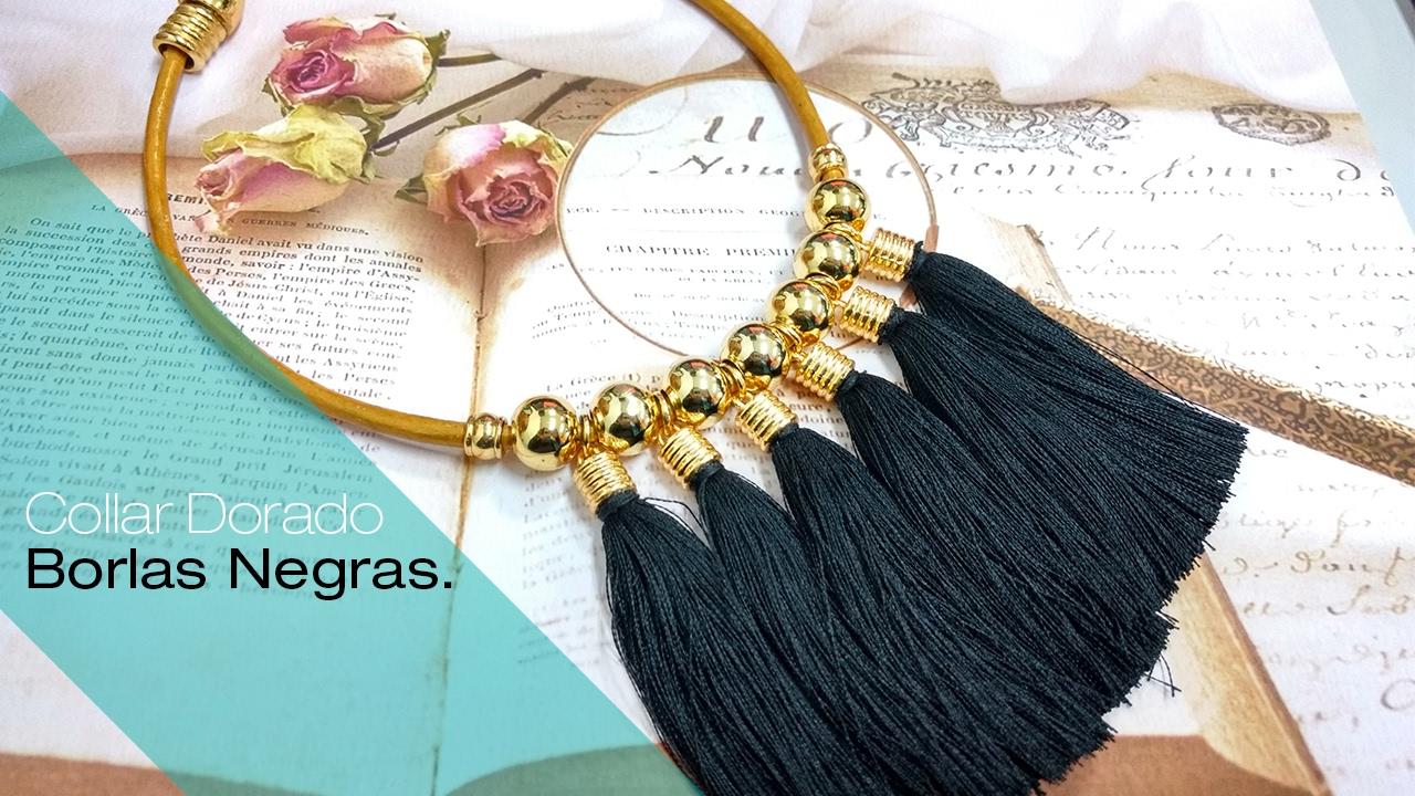 Aprende c mo hacer un collar dorado y borlas negras - Como hacer borlas de hilo ...