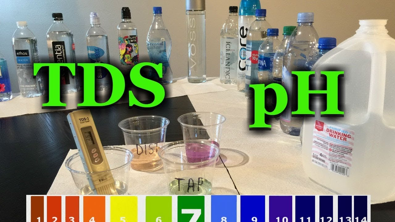 Best bottled water pH TDS test vs tap distilled water alkalinity and acidity