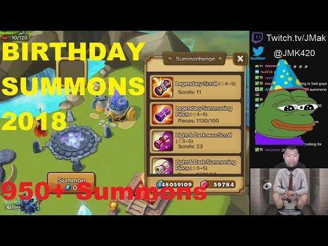 [Summoners War] JMak 950+ Scrolls mass B-Day toilet Summons!