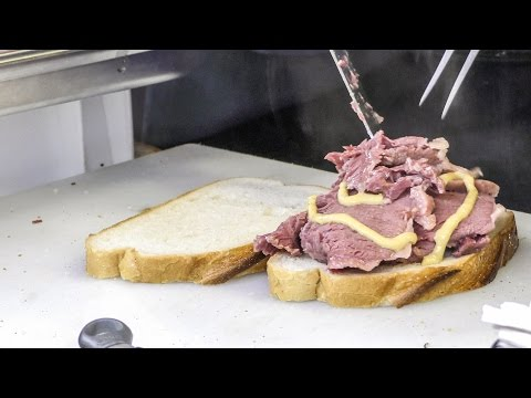 London Street Food. Salty Beef and Mustard Sandwiches, Kosher Style. Tasted in Chancery Lane