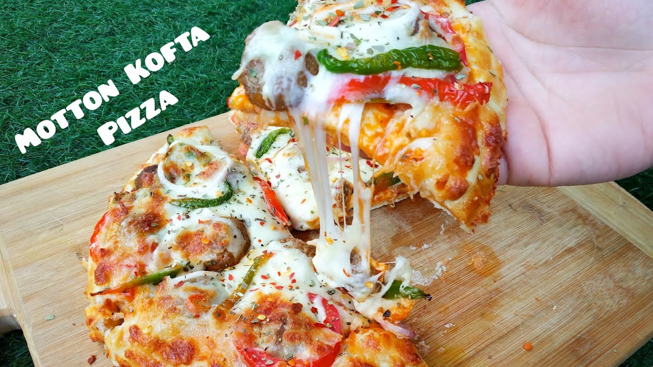 Double Crust Mutton kofta Pizza || Kofta pizza || with special cheesey sauce ||  Kashmir food fusion