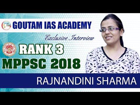 TOPPER'S TALK: MPPSC 2018-RANK 3rd - RAJNANDINI SHARMA