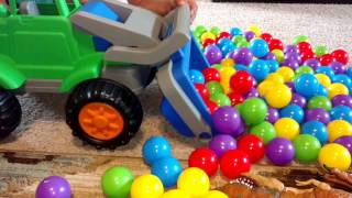 Playing With Dinosaur Eggs/ Colorful Balls-Bob the Builder Huge Dump Truck and Digger-Kids Z Fun