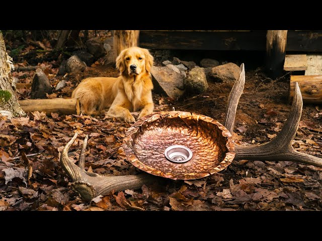 Handmade Hammered Copper Sink Using Hand Tools at my Wilderness Cabin | DIY