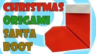 Christmas Paper Origami Santa Boot/Sock