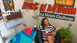 Living In BATHROOM For 24 Hours Challenge 🛁 Did I Survive It ? 🙄