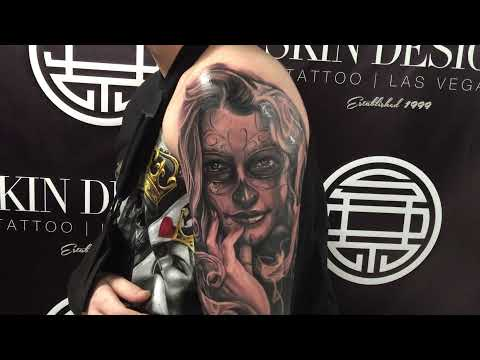 Day of the dead sleeve tattoo by Fernie Andrade of Skin Design Tattoo Las Vegas