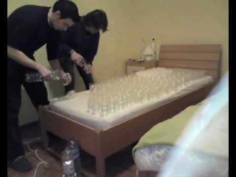 Roommate student prank - water bed