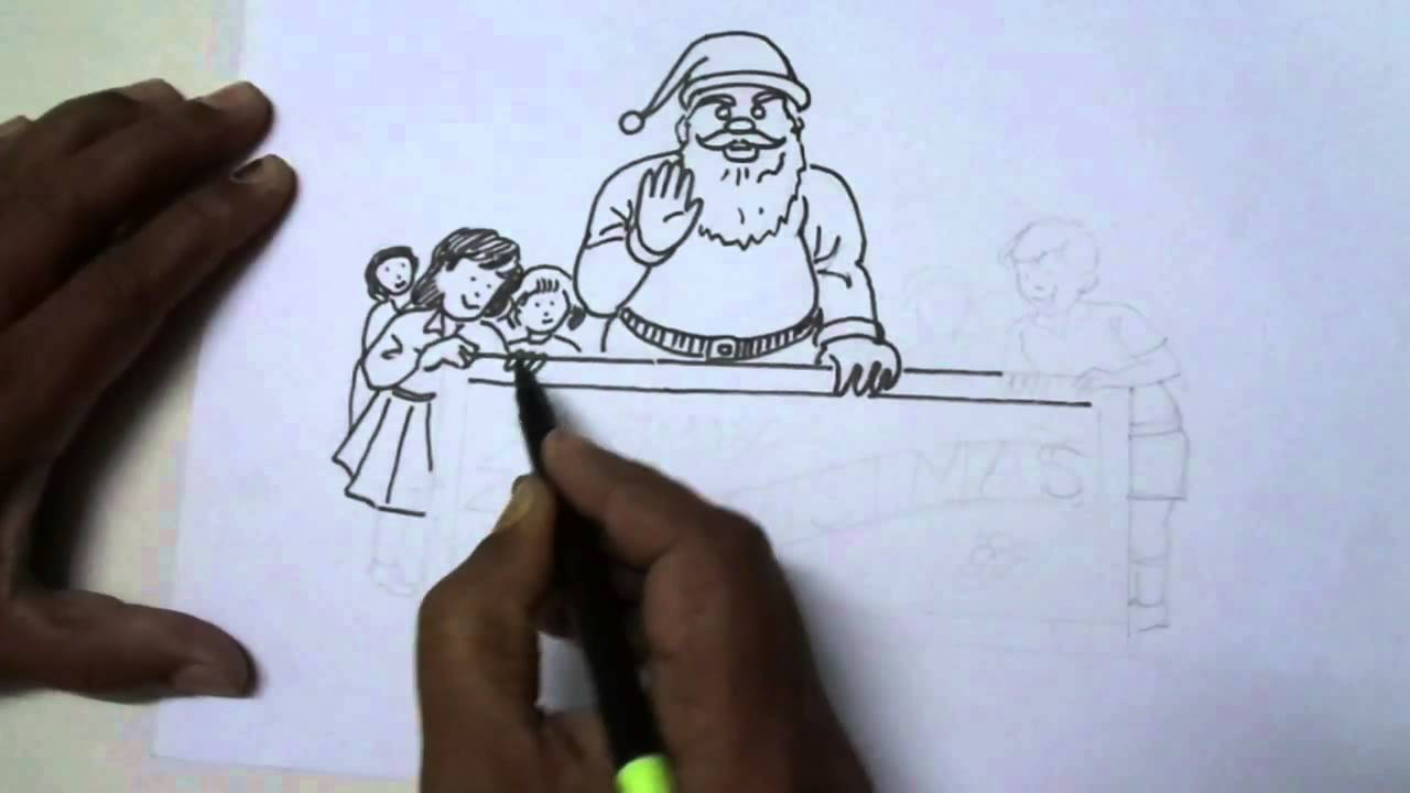 Christmas Scene Drawing.How To Draw A Simple Christmas Scene