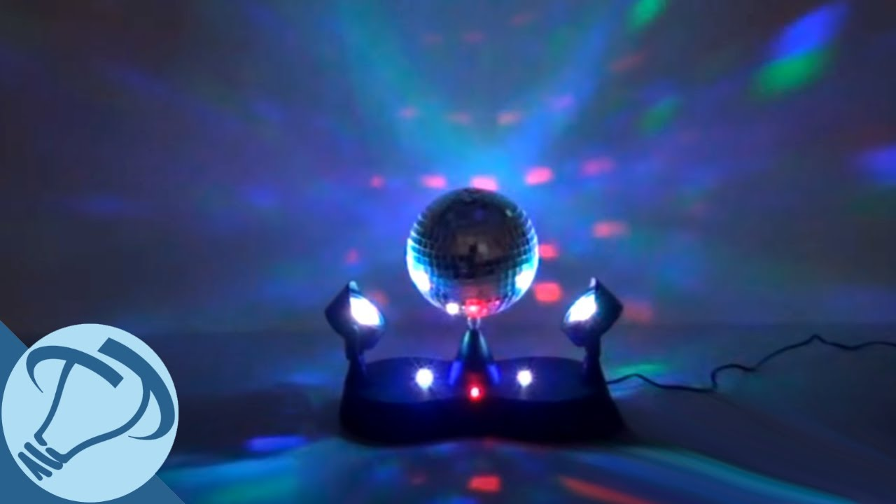 Mirror Disco Ball With Color Changing Twin Projector Led