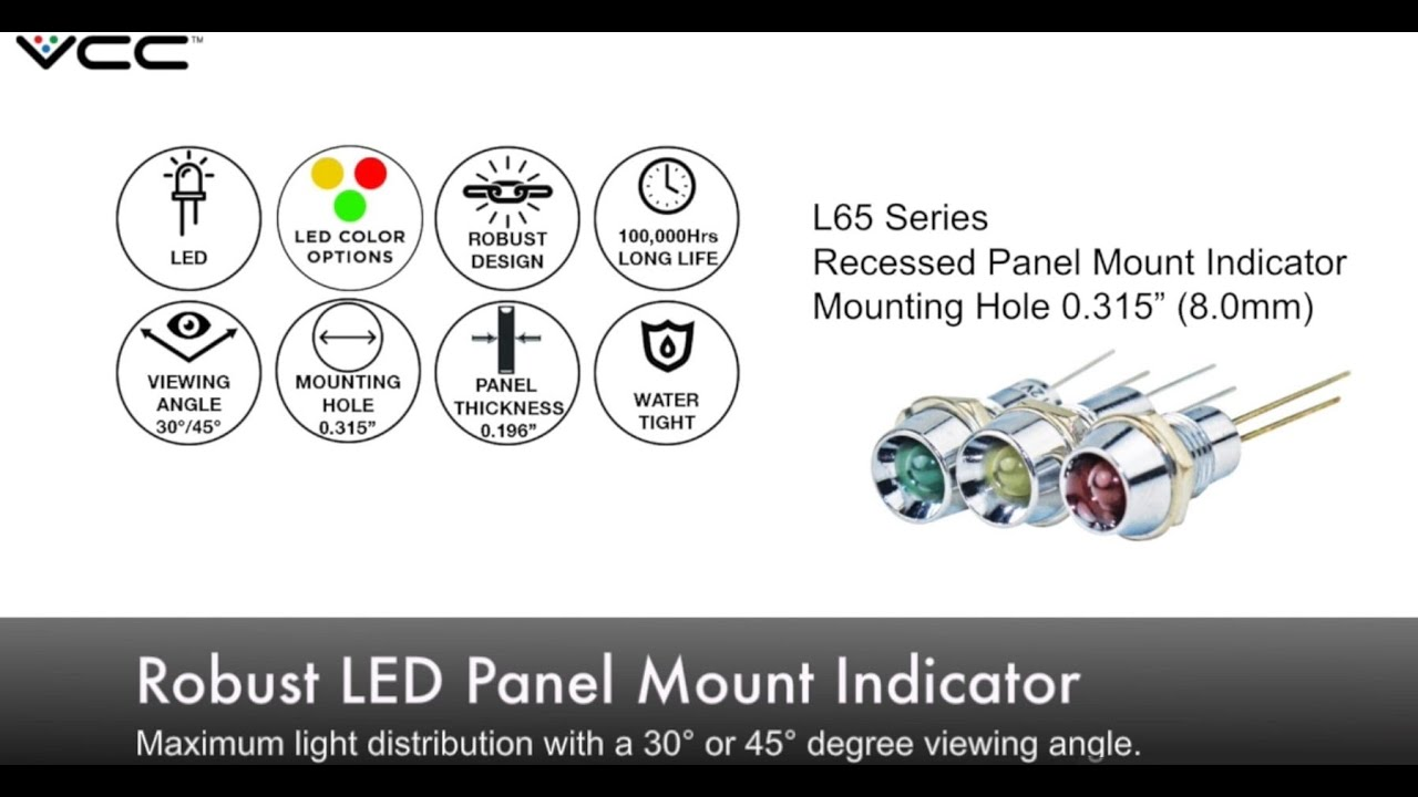 Vcc L65 Series Robust Led Panel Mount Indicator