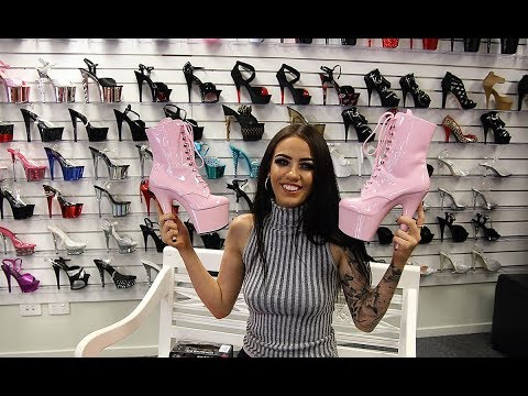 Pleaser Adore Bondgirl Delight Flamingo Infinity 1020PK Platform Ankle Boots