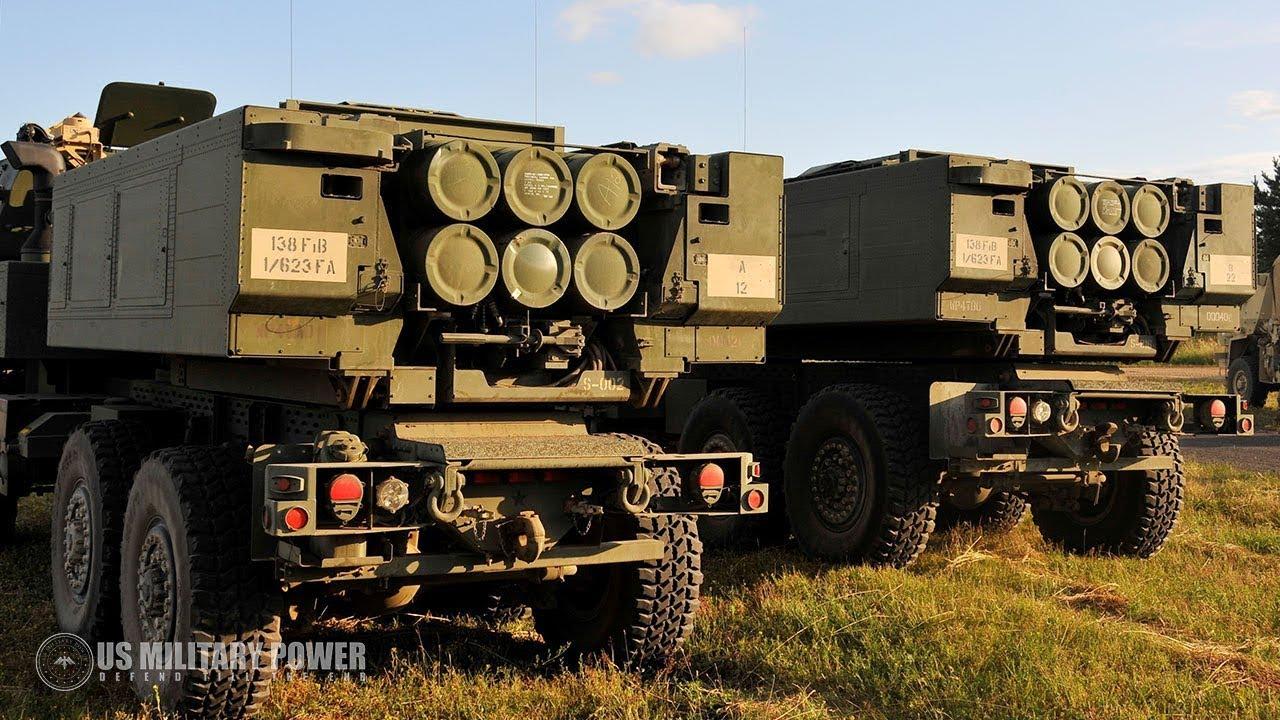 M142 High Mobility Artillery Rocket System (HIMARS) firing during Saber  Strike 2018 - YouTube