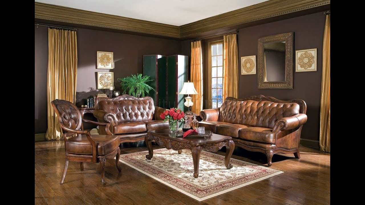 Brown living room furniture ideas - YouTube