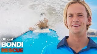 Trainee Lifeguard Makes A Rescue Through Thumping Surf