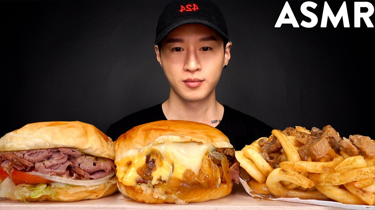 Asmr Cheesy Roast Beef Gravy Fries Mukbang No Talking Eating Sounds Zach Choi Asmr