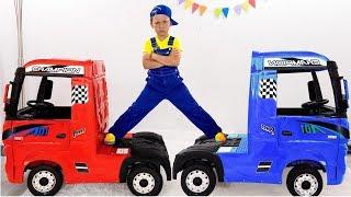 يقود Senya شاحنة كبيرة ويلعب مهنًا مختلفة