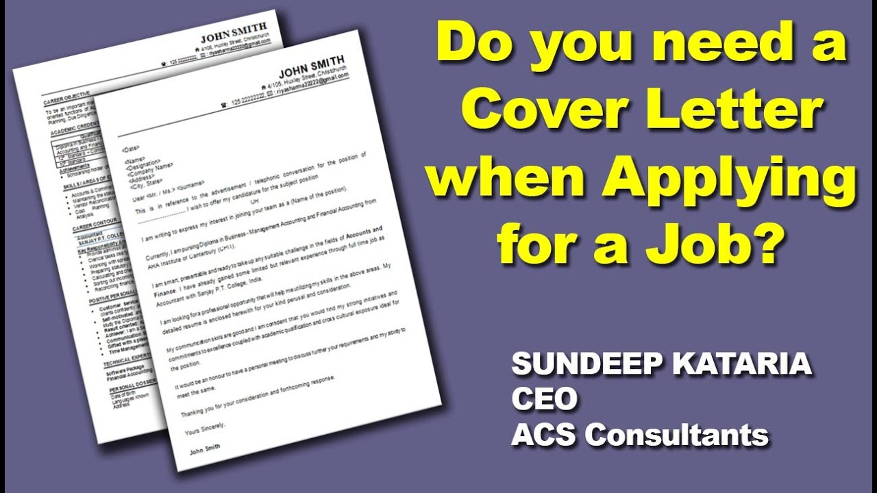 Do You Need A COVER LETTER When Applying For A Job ?   YouTube  Do I Need A Cover Letter