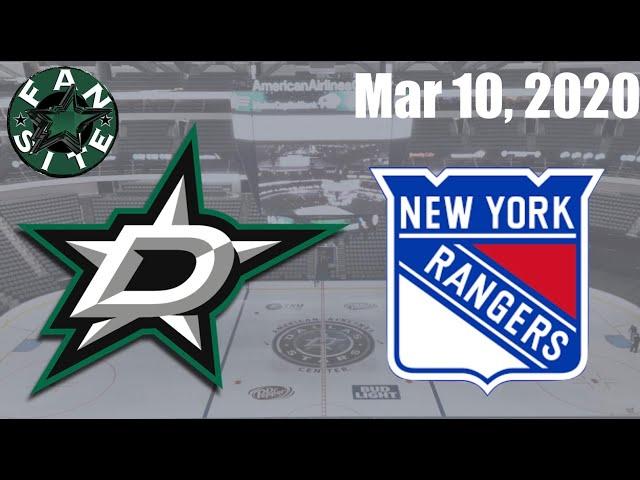 Dallas Stars vs New York Rangers | Mar 10 2020