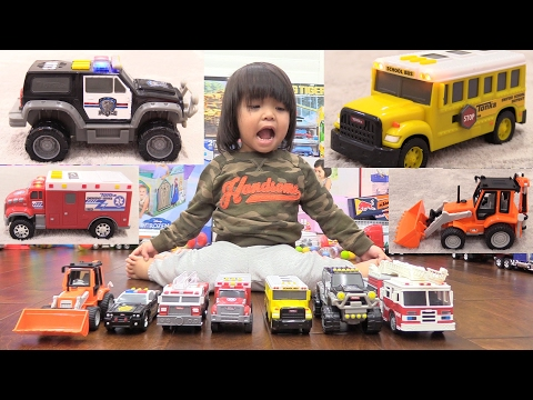 Toy Channel: Yellow School Bus, Fire Truck, Police Car, Ambulance, Construction Trucks and More!