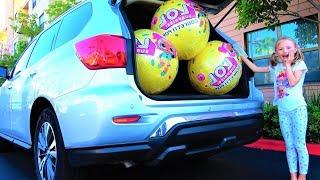 Гигантские Шары ЛОЛ Конфетти в Маминой Машине Сборник Лучших видео про LOL Surprises от Супер Полины