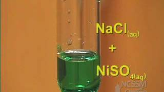A Double Displacement Precipitation Reaction of 2 Aqueous Solutions (NaCl and NiSO4).