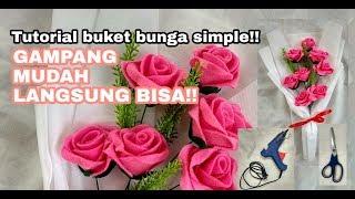 Buket Bunga Flanel Tutorial/ DIY Bouquet felt flowers!!