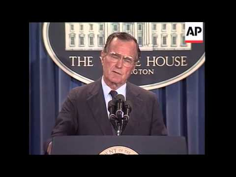 President George H.W. Bush holds morning news conference and comments on demonstrations in Tiananmen