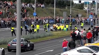 Koenigsegg Crashes Into Crowd Slow Motion No Adds HD