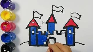 Bé tập vẽ và tô màu lâu đài | Draw and color the castle