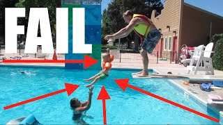 🏊DIVING BOARD FAIL😱! SWIMMING LESSONS | SWIMMING POOLS | DYCHES FAM