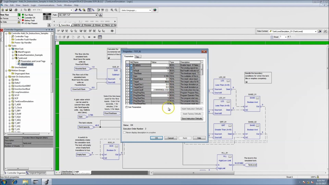 Studio 5000 Version 30 Tank Emulation Add-On Instructions