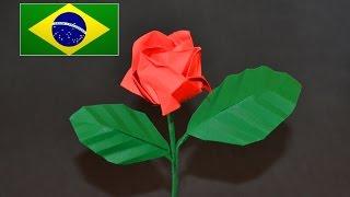 Origami: Rosa Kawasaki - Instruções em português PT BR